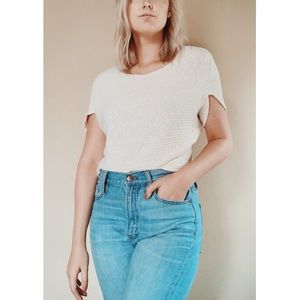 Anthropologie Cropped Ribbed CreamTee M